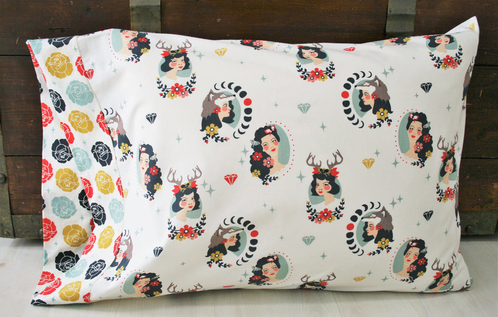 Organic Pillowcase - Organic Standard Pillowcase - Tall Tales - Vintage Inspired