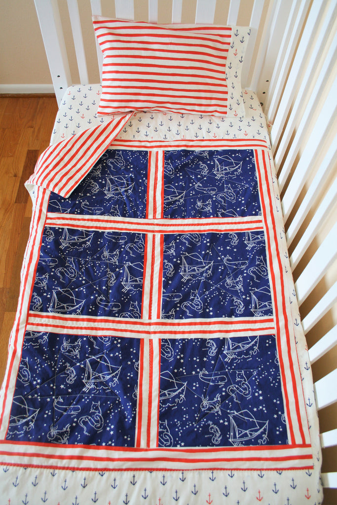 Organic Baby Quilt - Organic Toddler Quilt - Nautical
