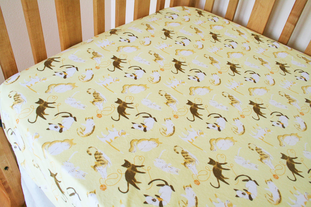 Organic Crib Sheet, Neutral, Mini Co-Sleeper, Co-Sleeper, Pack n Play, Mini Crib, Crib Sheet, Cattitude, Kitties, Cats, Kitty Crib Sheet
