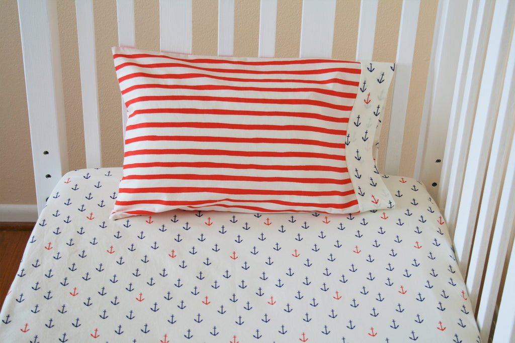 Organic Crib Sheet, Mini Co-Sleeper, Co-Sleeper, Pack n Play, Mini Crib, Fitted Crib Sheet, Nautical Crib Sheet, Saltwater, Anchors