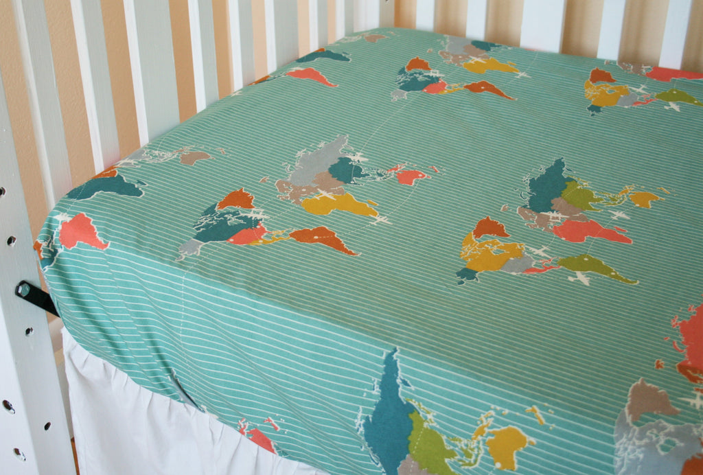 Organic Toddler Sheet, Boy, Cotton Fitted Crib Sheet, Organic Crib Sheet, Bus Crib Sheet, Airplanes, Buses, Maps, Trans Pacific, Travel