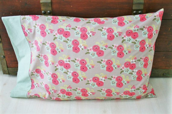 Organic Pillowcase,  Organic Standard Pillowcase, Pillow Case, Floral Pillowcase, Bloom, Eco Pillocase, Pillow Case, Pink, Mint Green