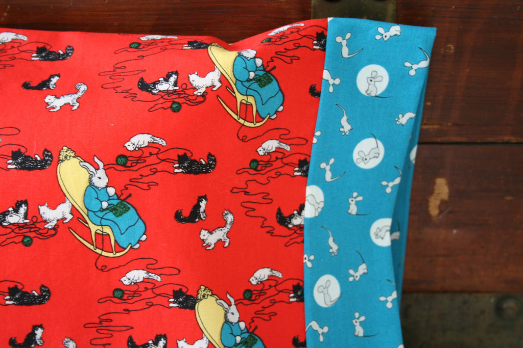 Good Night Moon, Organic Toddler Pillowcase, Travel Pillowcase, Pillow Case, Toddler Bedding, Organic, Cows, Mice, Kittens, Children's Books