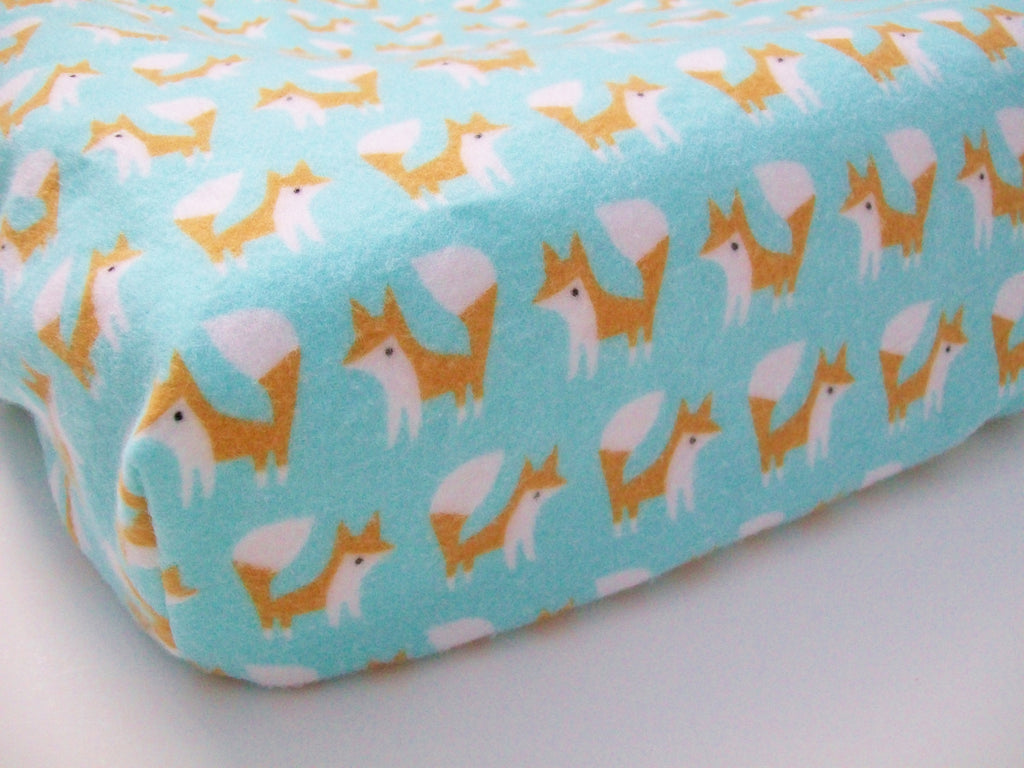 Organic Changing Pad Cover, Flannel Changing Pad Cover: Elephant in the Room, Elephants, Tuquoise, Gray, Coral, Changing Pad Cover