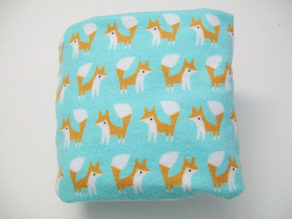Organic Changing Pad Cover, Flannel Changing Pad Cover, Foxes, Turquoise, Contoured Changing Pad Cover, Fox Changing Pad Cover, Cotton