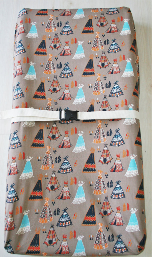 Organic Changing Pad Cover, Boy, Girl, Neutral, Contoured Changing Pad Cover, Organic, Wildland, Teepees, Arrows, Horses, Navy, Floral