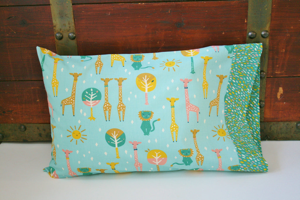 Organic Toddler Pillowcase - Organic Travel Pillowcase - Happy Town - Giraffes