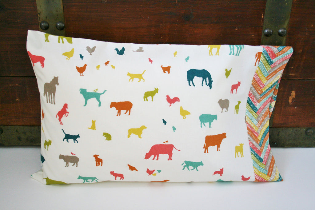 Toddler Gift Neutral, Organic Toddler Pillowcase, Farm, Animal Pillowcase, Farmyard, Farm Fresh, Horses, Cows, Chickens, Animals, Boy
