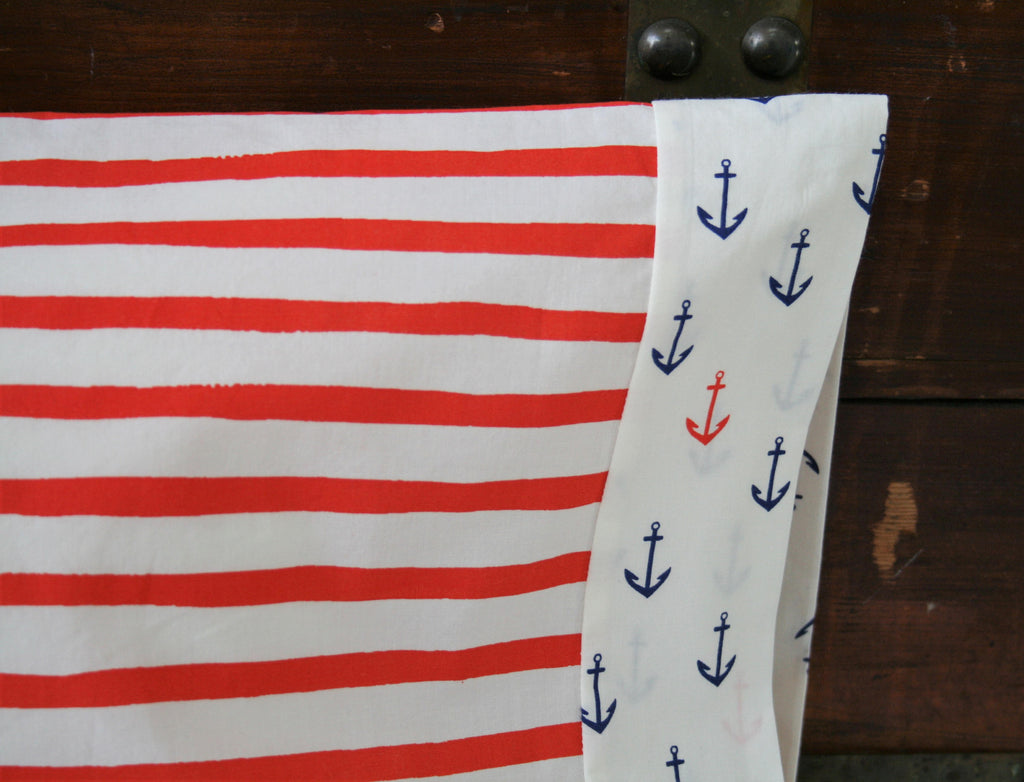 Organic Toddler Pillowcase, Organic Travel Pillowcase, Kids, Nautical Pillowcase, Toddler Gift Boy, Stripes, Anchors, Ready to Ship, Neutral