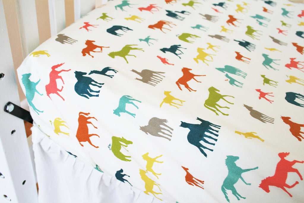 Organic Crib Sheet, Organic Toddler Sheet, Horse Crib Sheet, Cotton Fitted Crib Sheet, Farm Fresh, Organic, Toddler Bedding, Horses, Neutral