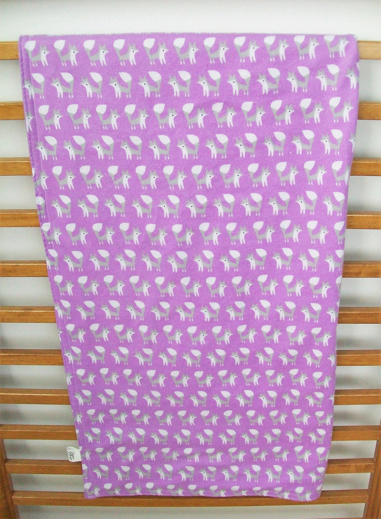 Organic Baby Blanket - Organic Toddler Blanket - Flannel - Fox Trot (Orchid)