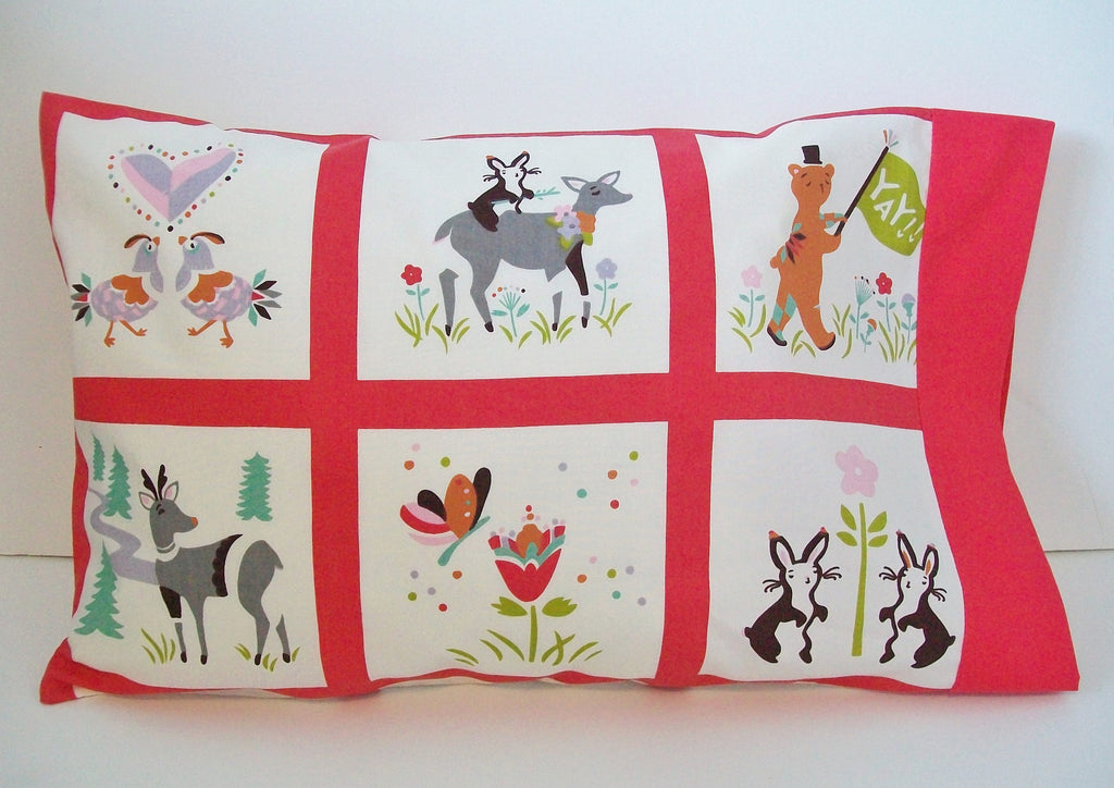 Toddler Gift, Organic Toddler Pillowcase Animals, Woodland, Deer, Chickens, Bears, Pillow Case, Organic Toddler Bedding, Ready to Ship