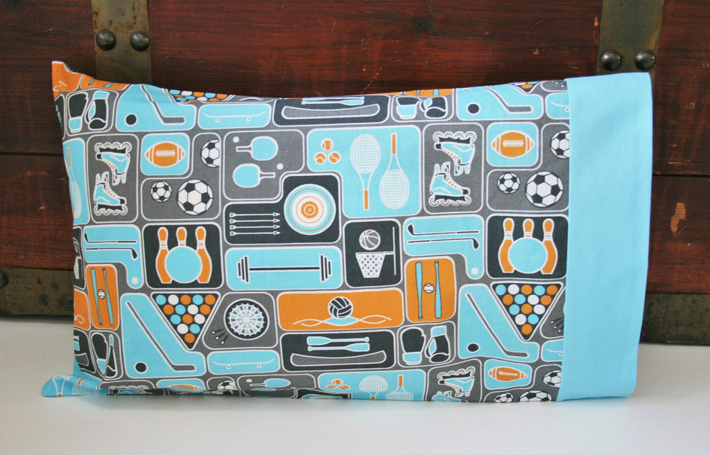 Ready to Ship, Gift for the Sports Lover, Organic Toddler Pillowcase Boy, Organic Travel Pillowcase, Kids, Sports Pillowcase, Gift for Him