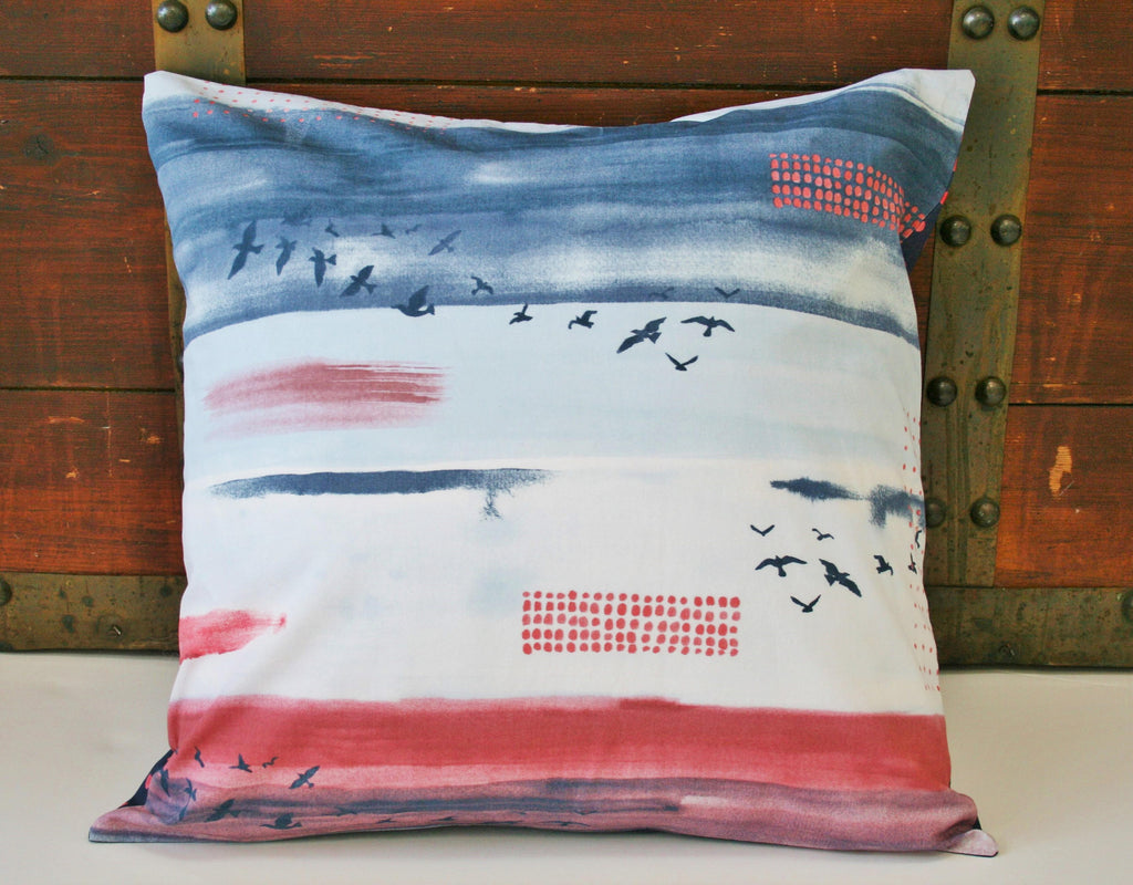 "Organic Throw Pillow Cover, Decorative Pillow Cover, 18"" x 18"" Pillow Cover, Sofa Pillow Cover, Sky, Birds, Wanderlust, Housewarming Gift"