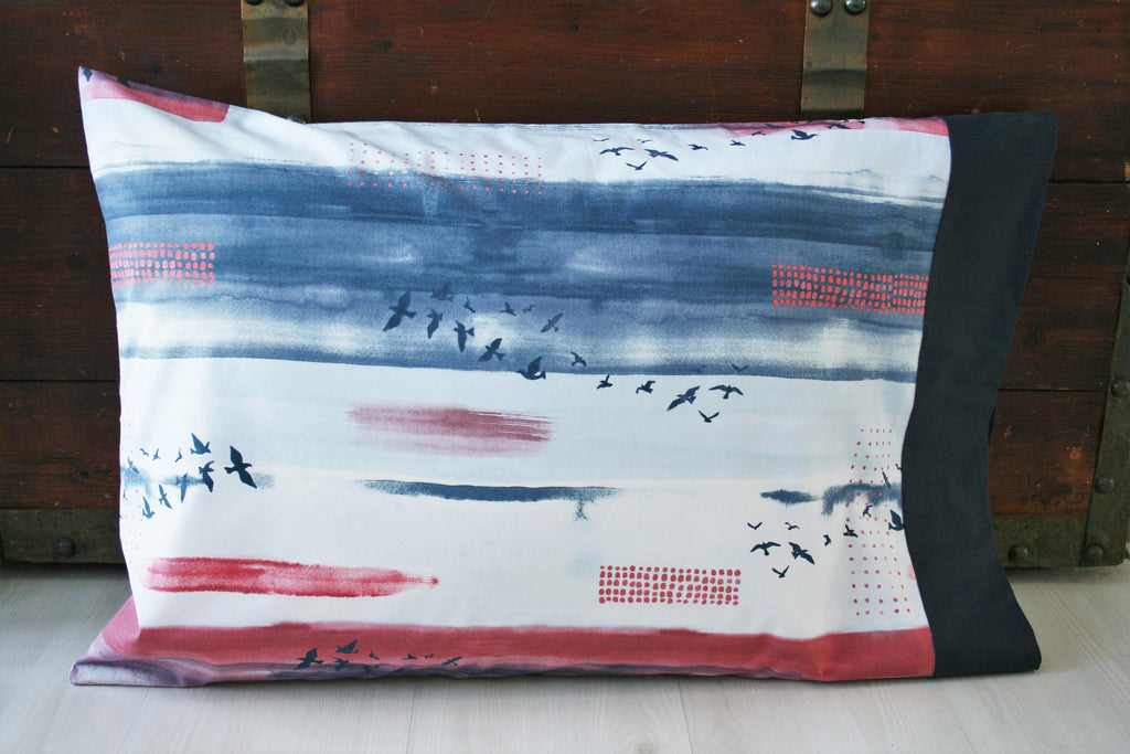 Organic Pillowcase, Floral,  Organic Standard Pillowcase, Pillow Cases, Poppies, Red, Navy Blue, Organic, Custom Pillowcase, Eco Pillowcase