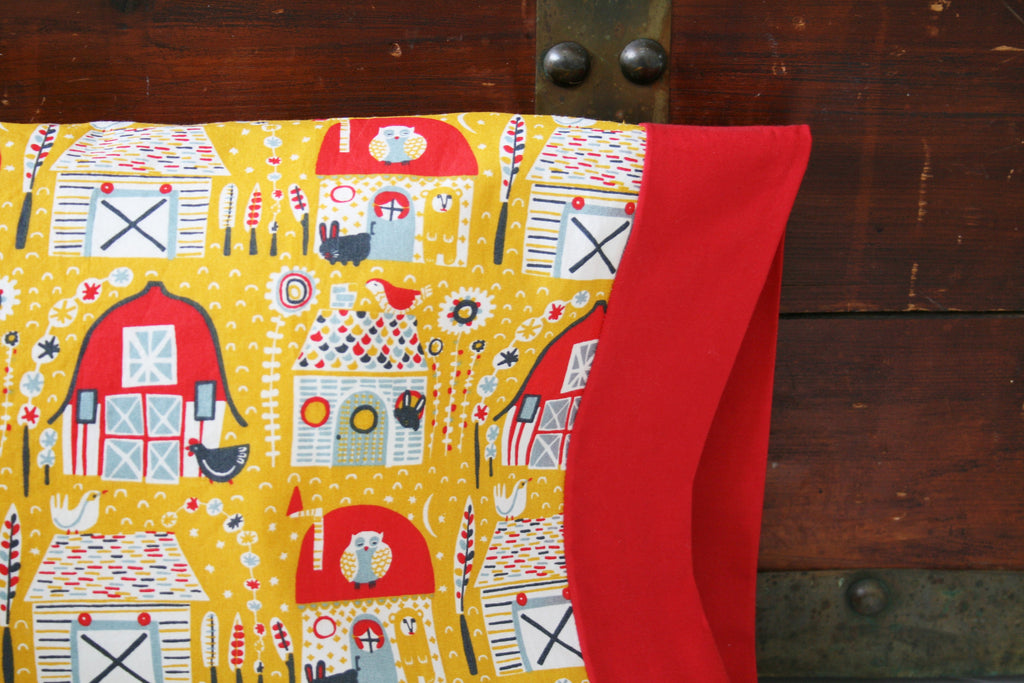 Organic Cotton Barnyard Pillowcase in a Variety of Sizes