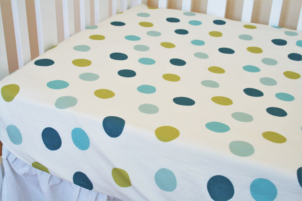 Organic Crib Sheet, Mini Co-Sleeper, Co-Sleeper, Pack n Play, Mini Crib, Fitted Crib Sheet, Organic Toddler Sheet, Polka Dot Crib Sheet