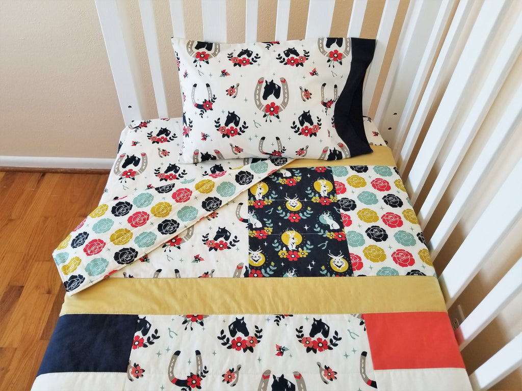 Organic Baby & Toddler Quilt with Horses