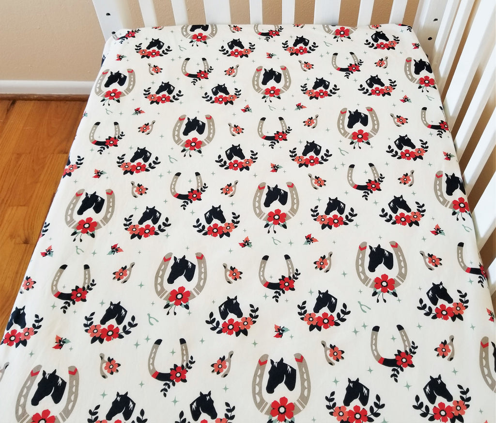 Organic Crib Sheet, Cotton Fitted Crib Sheet, Horses, Floral, Organic Toddler Sheet, Toddler Bedding Girl, Baby Girl, Tall Tales, Baby Gift