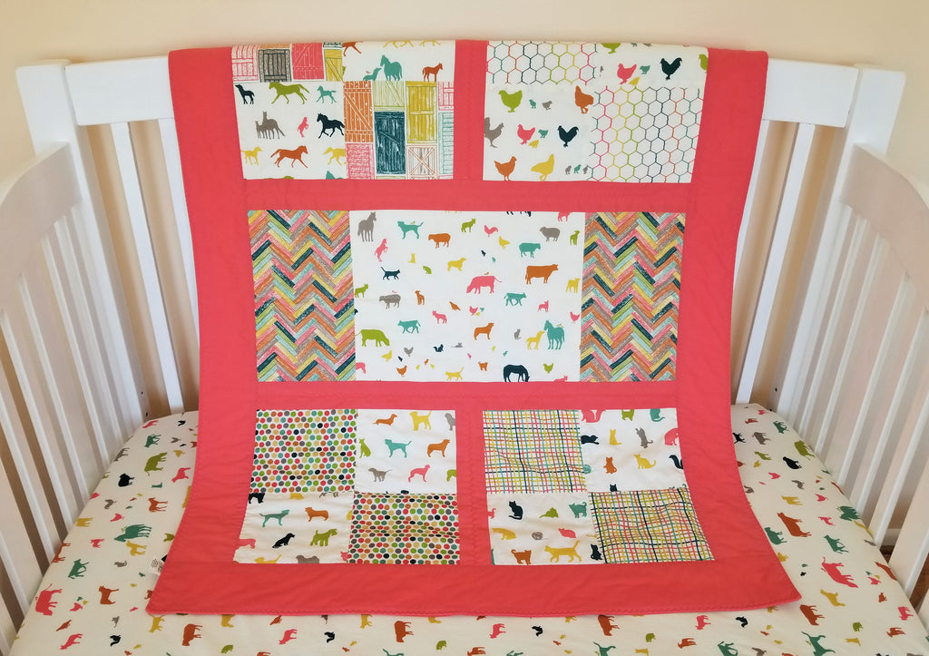 Farm Animal Organic Baby Quilt - Organic Toddler Quilt