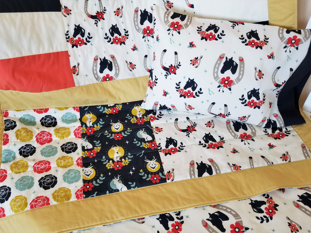 Organic Crib Bedding Set, Girl, Organic Baby Bedding Set, Horses, Crib Set, Organic Toddler Bedding Set, Baby Girl, Floral, Tall Tales