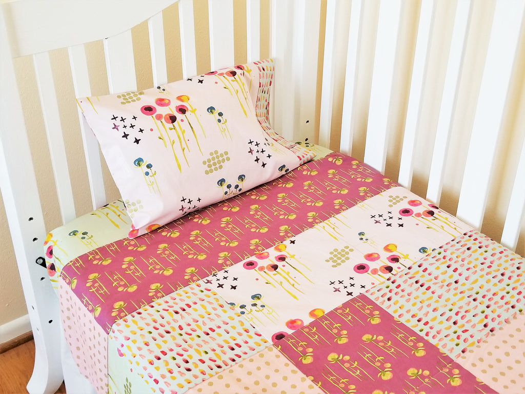 Organic Crib Bedding Set, Girl, Organic Baby Bedding Set, Crib Set, Organic Toddler Bedding Set, Baby Girl, Pink, Floral, Haiku, Floral Crib
