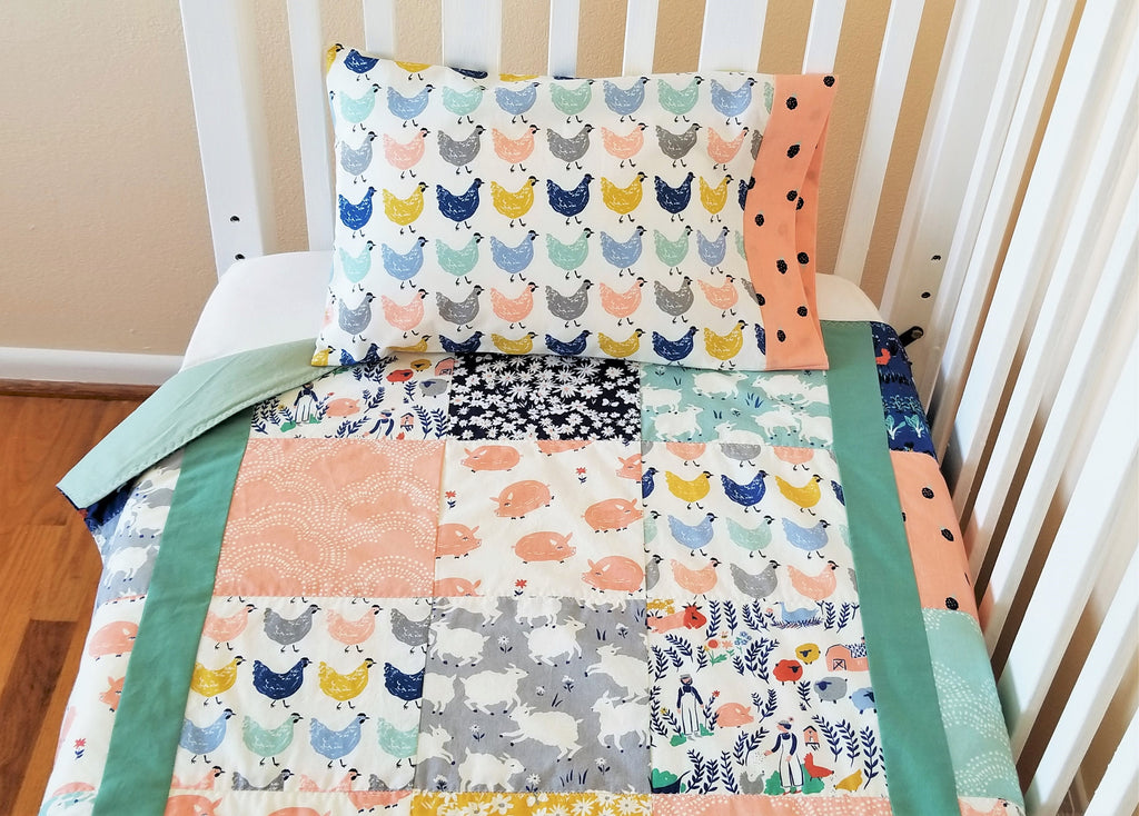 Organic Crib Bedding Set, Girl, Organic Baby Bedding Set, Organic Toddler Bedding Set, Farmstead, Farm Animals, Baby Bedding Sets, Baby Girl