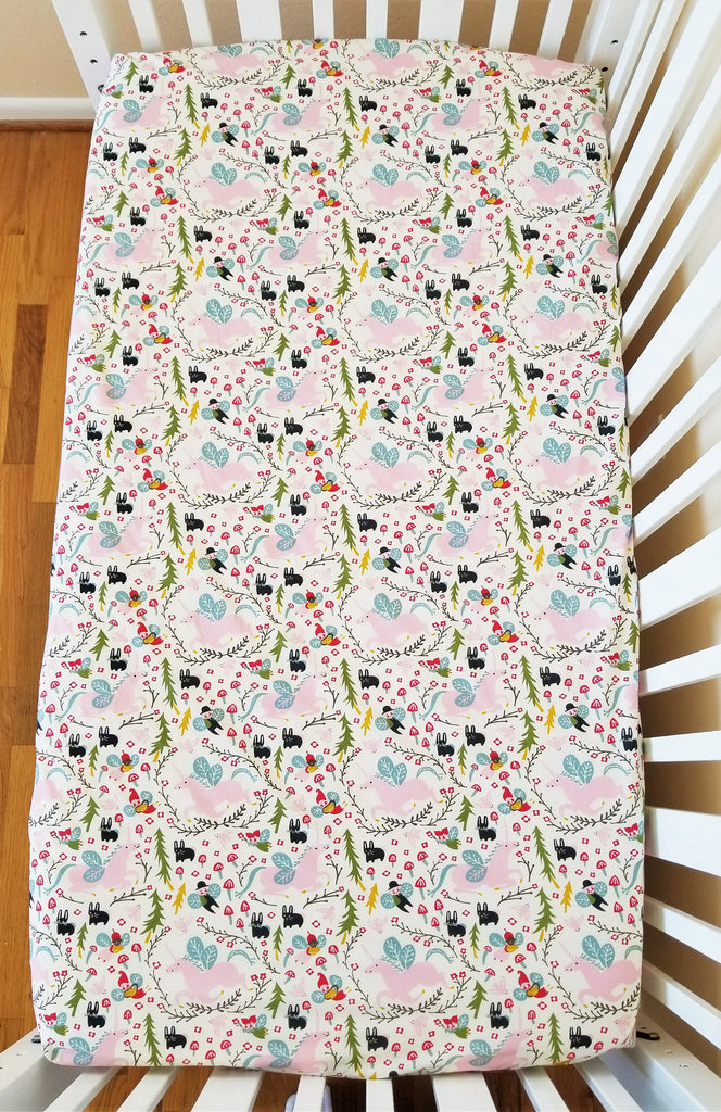 Organic Crib Sheet, Unicorn Crib Sheet, Girl, Unicorns, Organic Toddler Sheet, Woodland, Pink, Baby Girl, Fitted Crib Sheet, Folkland