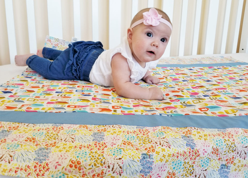 Cats, Flowers & Houses Organic Cotton Baby & Toddler Blanket