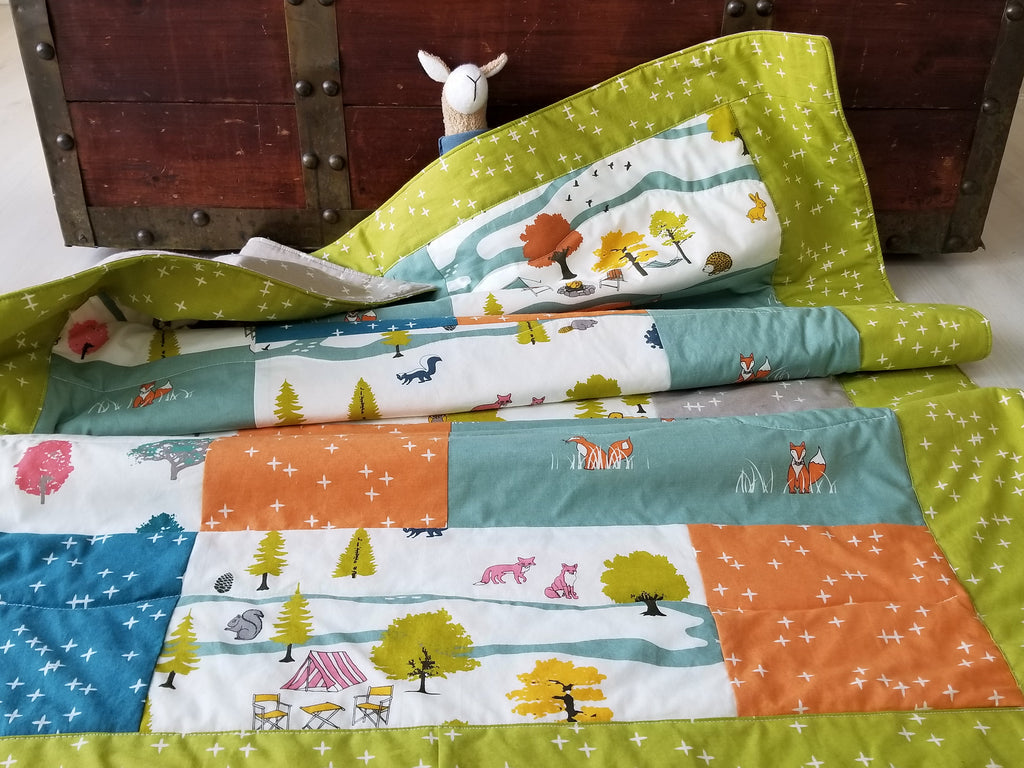 Organic Baby Quilt, Organic Toddler Quilt, Woodland, Modern Quilt, Organic Baby Quilt Handmade, Camp Sur, Gender Neutral, Foxes, Baby Gift