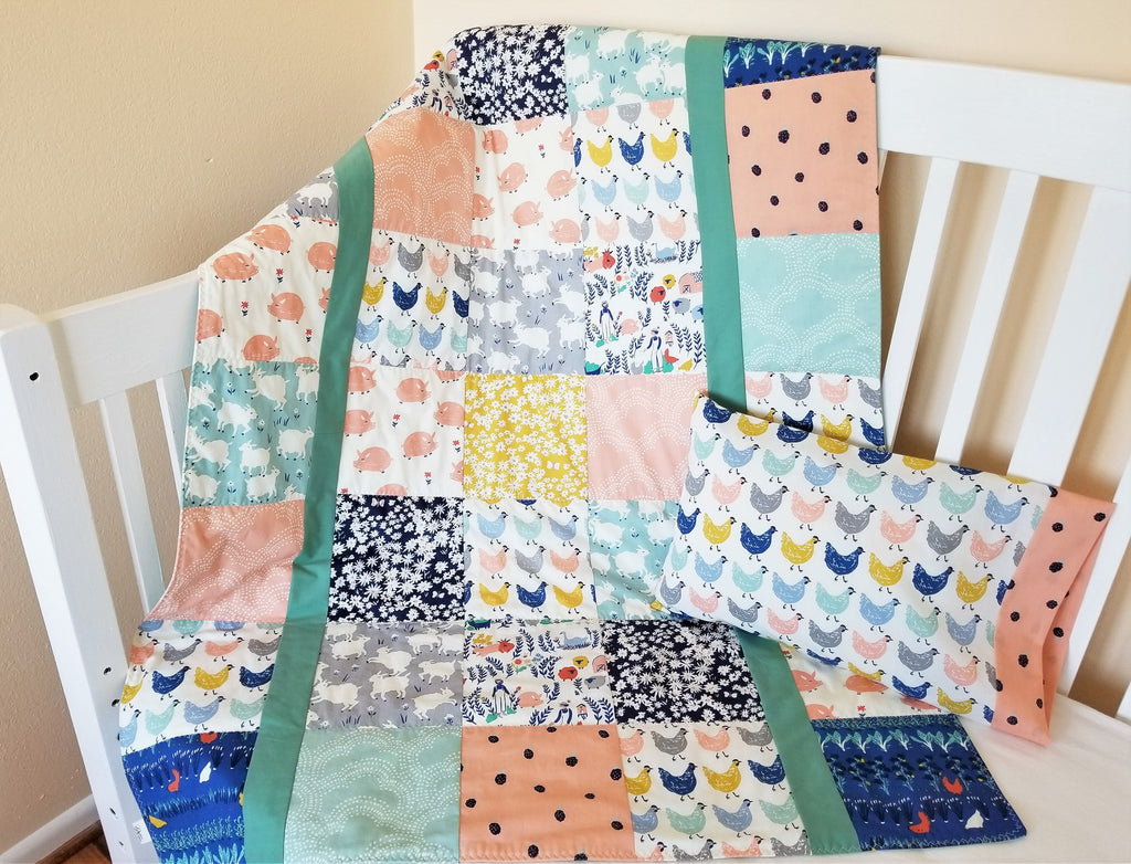 Organic Baby Quilt - Girl - Organic Toddler Quilt - Farmstead