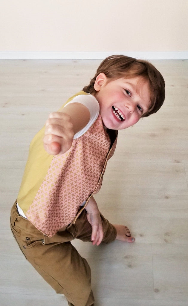 Organic Boy's & Toddler Vest in Pink and Gold - Mommy & Me