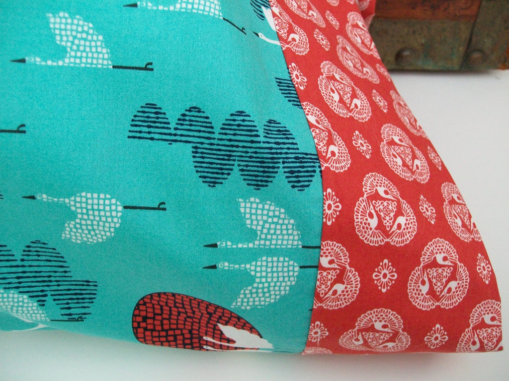 Organic Pillowcase, Organic Standard Pillowcase, Handmade, Organic, Pillow Cases, Modern Americana, Turquoise, Birds, Red, Indigo