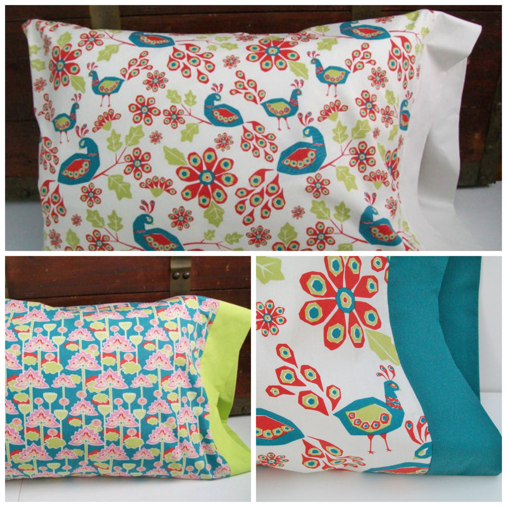 Organic Pillowcase, Organic Standard Pillowcase, Floral, Peacock Paradise, Lotus Blossom, Organic Cotton Pillowcase, Peacocks, Pillow Cases