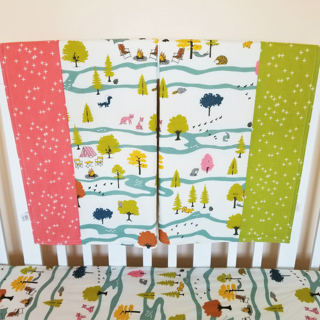 Organic Baby or Toddler Size Blanket in Camp Scene