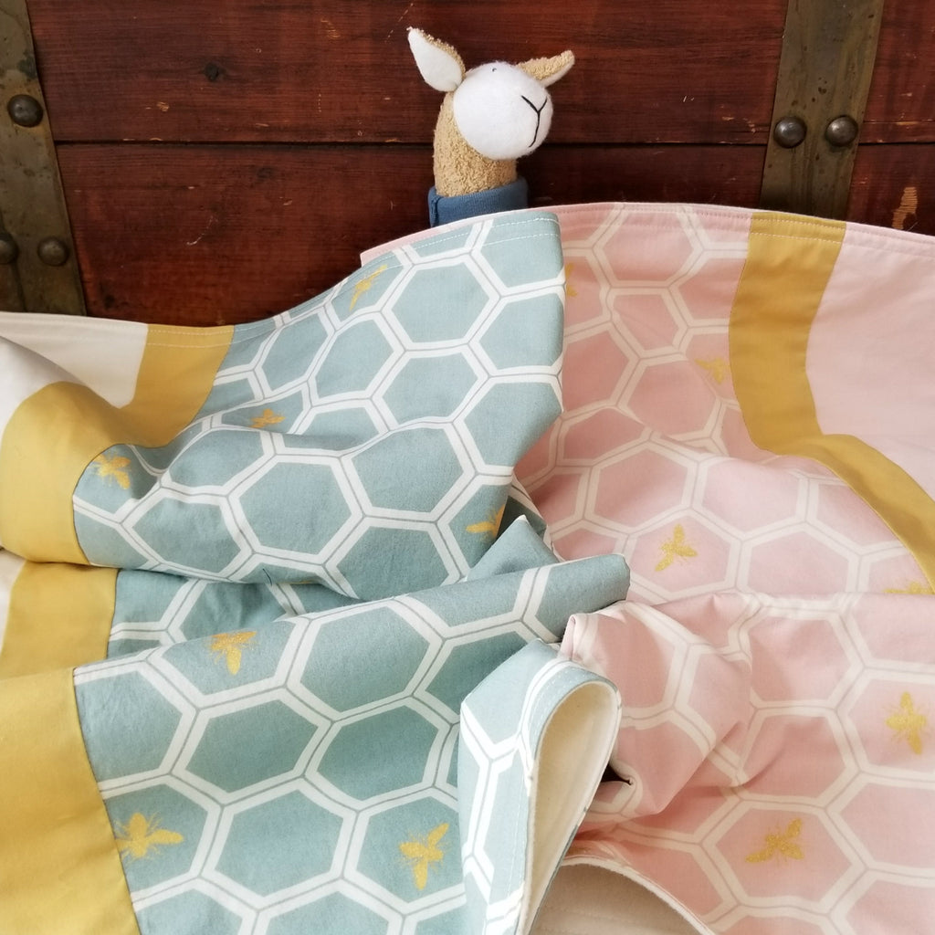 Organic Cotton Baby and Toddler Blankets in Honeycomb and Bee Print