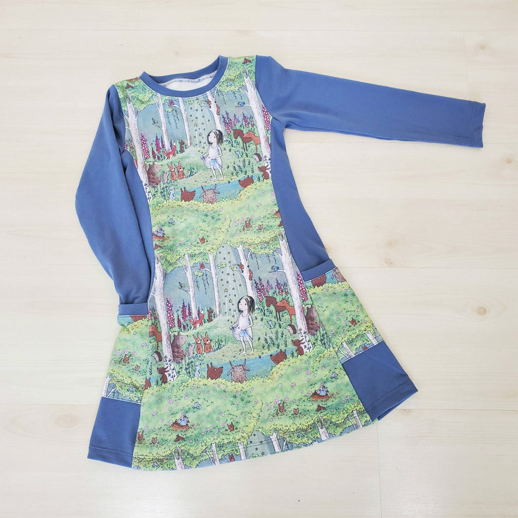 Organic Toddler and Girl's Dress in a Woodland Print
