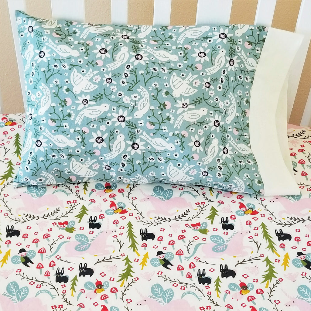 Organic Cotton Pillowcases with Birds & Flowers