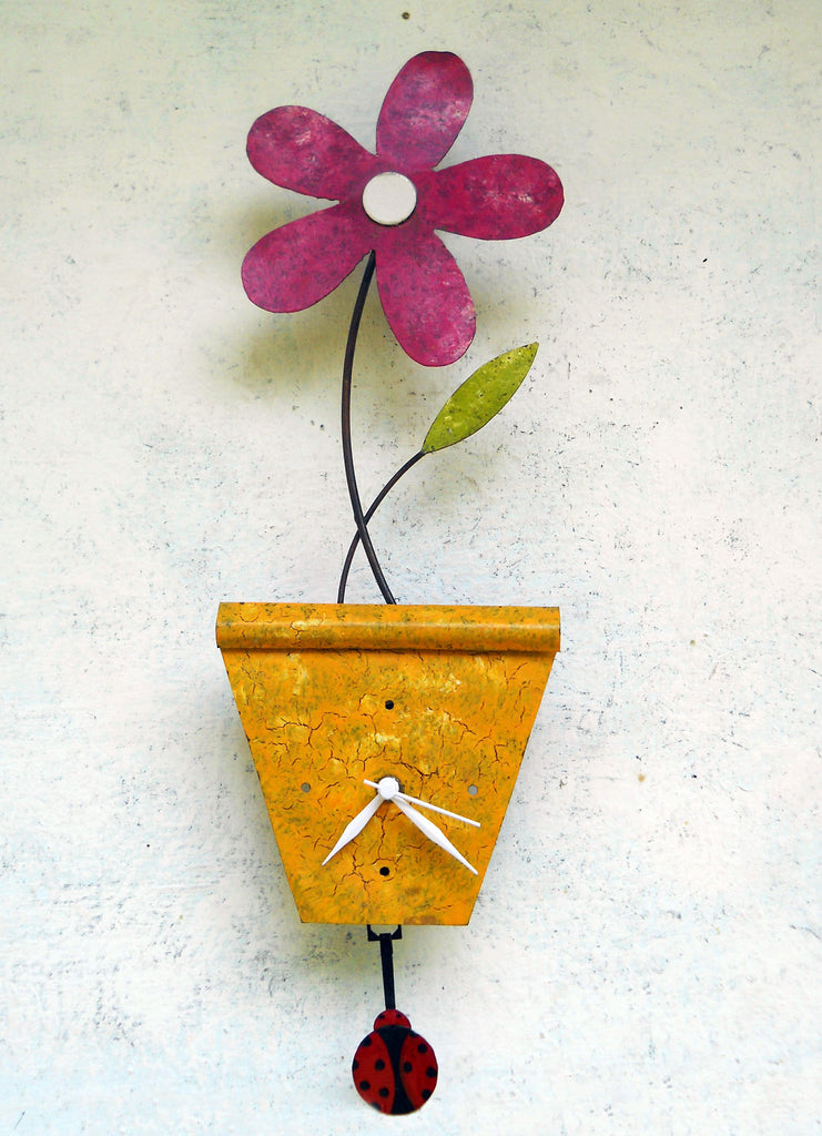 """Flower Pot Wall Clock"""