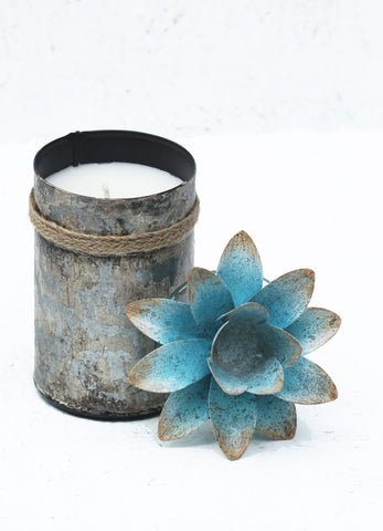 """Spice Tin with Lotus Lid Blue (Large)"""