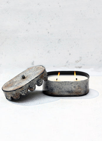 """Candle Tin with Victorian Lid Oval ( 2 wick)"""