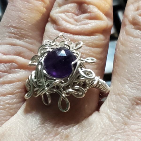 Amethyst Flower shaped sterling ring ETC59
