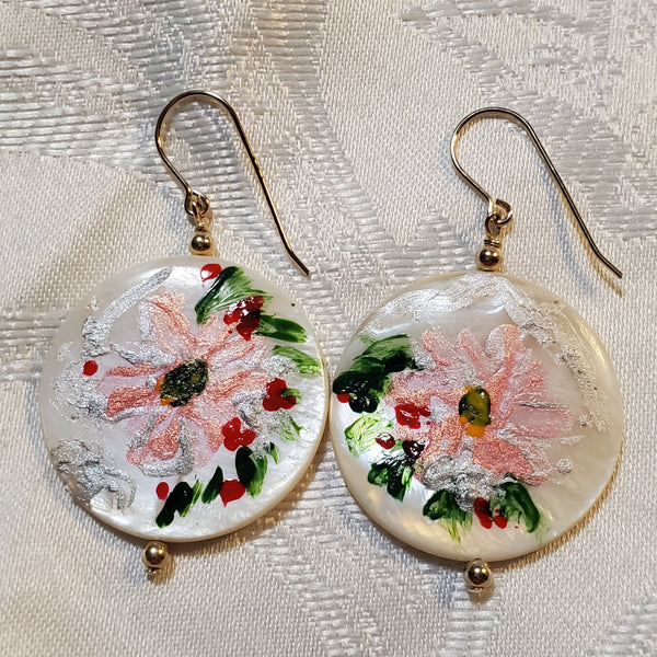 "Mother of pearl , GF , Hand painted ""Pink flowerish"" earrings -E99"