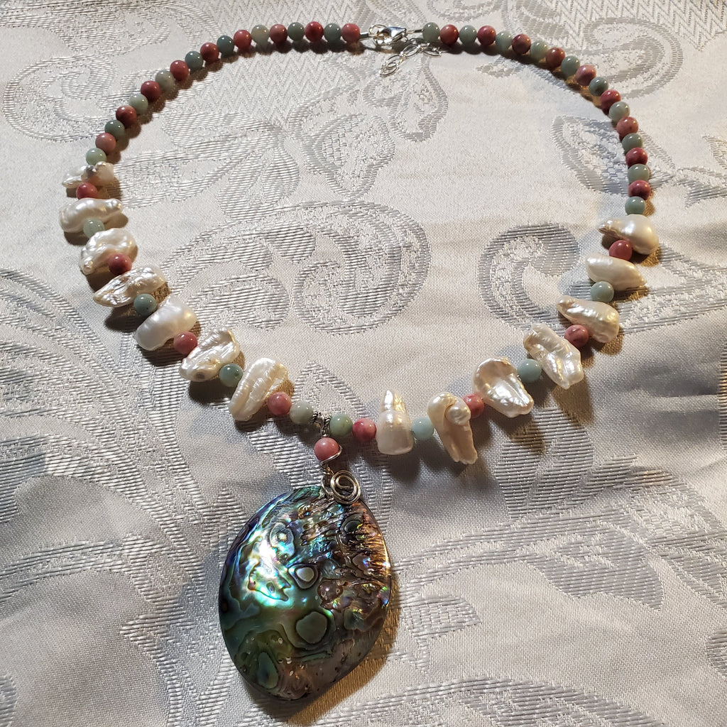 Abalone pink stone, and stick pearl necklace N140