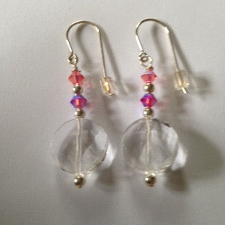 Padparadscha Colored Swarovski Crystal Earrings - E7 on sale now