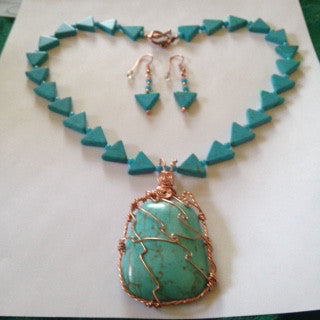 Magnesite And Turquoise Necklace And Earring Set with Sleeping Beauty Turquoise from Arizona