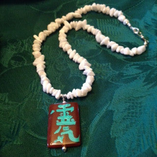 Hand Painted White Marble Reiki (Life Force Energy) Pendant And Necklace.