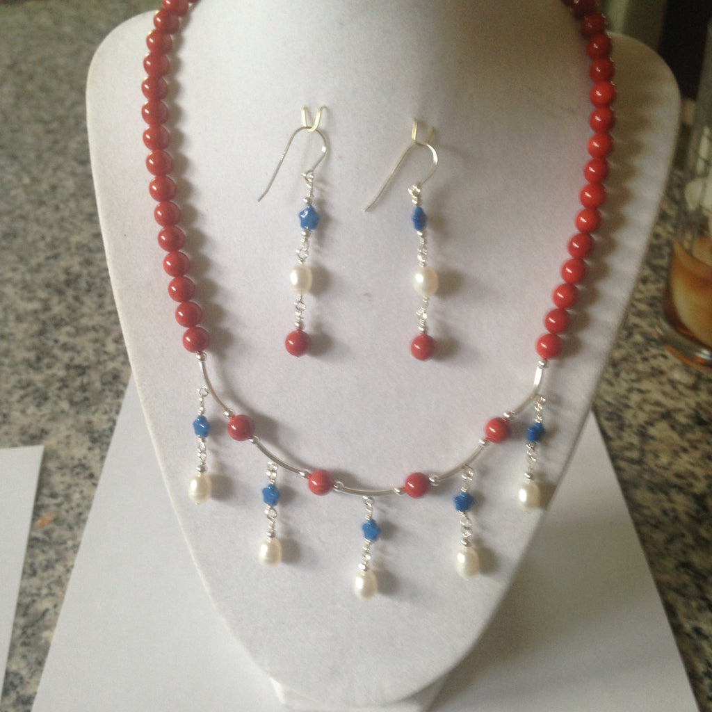Red Bamboo Coral,Freshwater Pearl, and Pressed Glass Stars Necklace Set N-33 Nautical Set