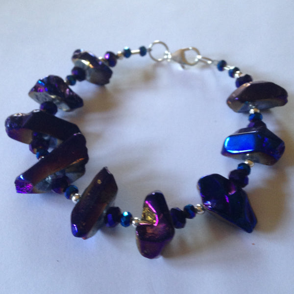 Electroplated Quartz Crystals and Faceted Glass Bracelet B32 on sale now