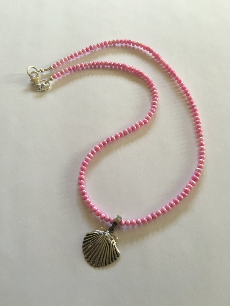Lavender /Pinkish Pearls  with Sterling Shell Necklace N64